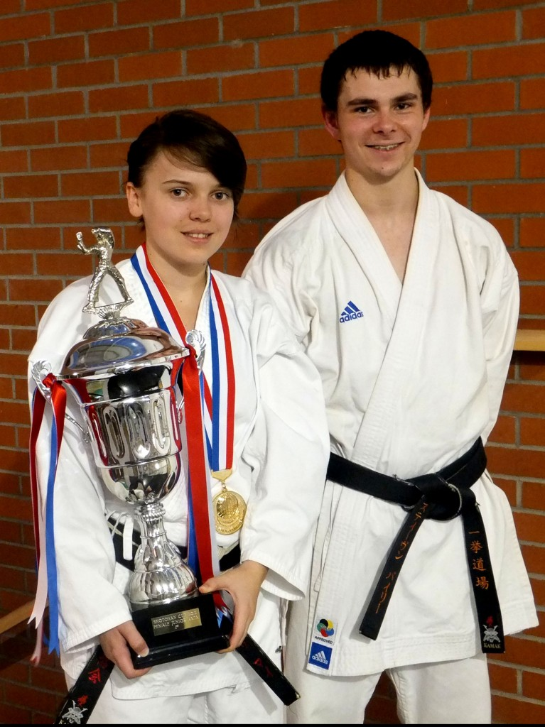 Meleri and Steve after a tremendous result at the Shotokan Cup